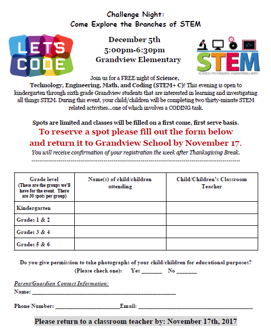 Sign up for STEM Challenge Night