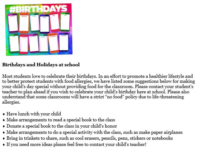 Birthdays at School