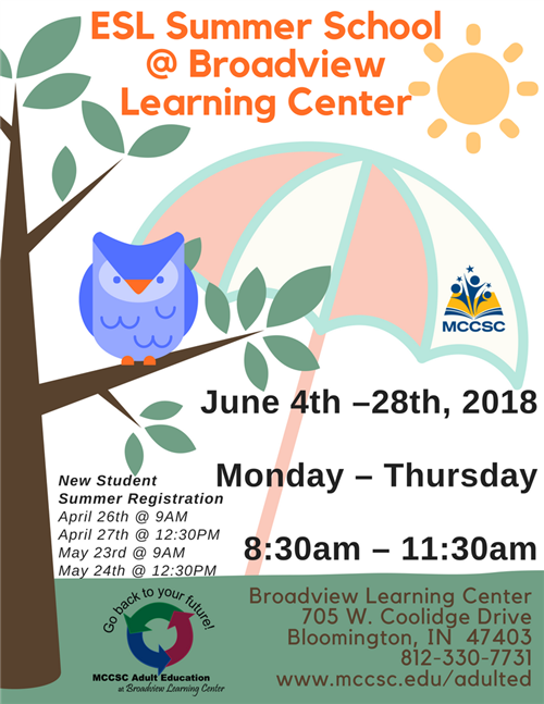 ESL Summer School Schedule