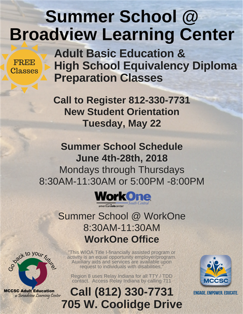 Broadview Learning Center Summer Schedule