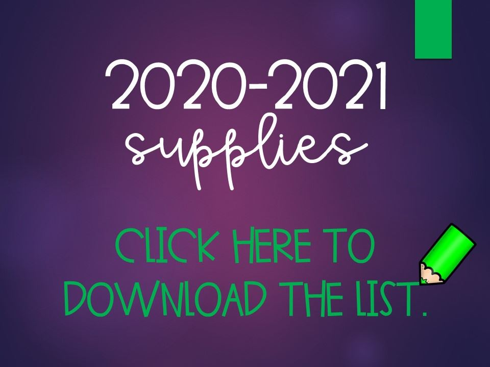 2020-2021 School Supply Lists **NO SUPPLIES WILL BE SHARED**