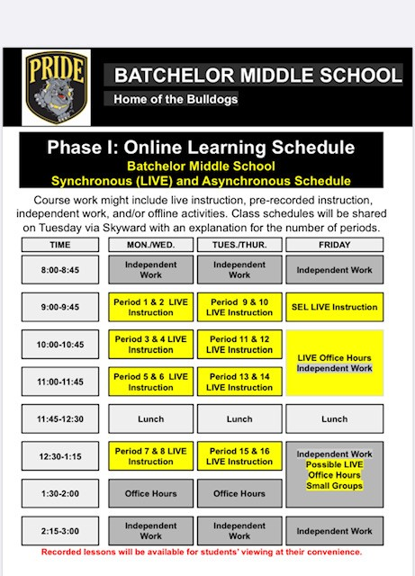 Batchelor Middle School Online Learning Schedule