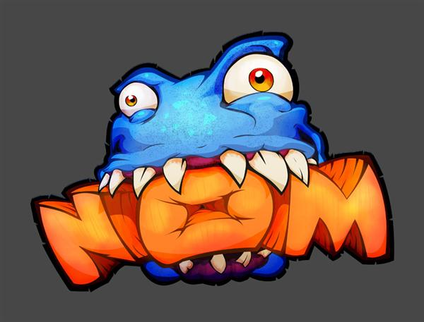 A blue monster with teeth bulging out and chewing an orange, block-letter word: NOM.