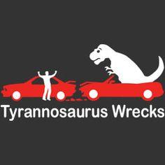 Two red cars on a black background that have just crashed. One has a person making angry motions and the other a T-Rex.