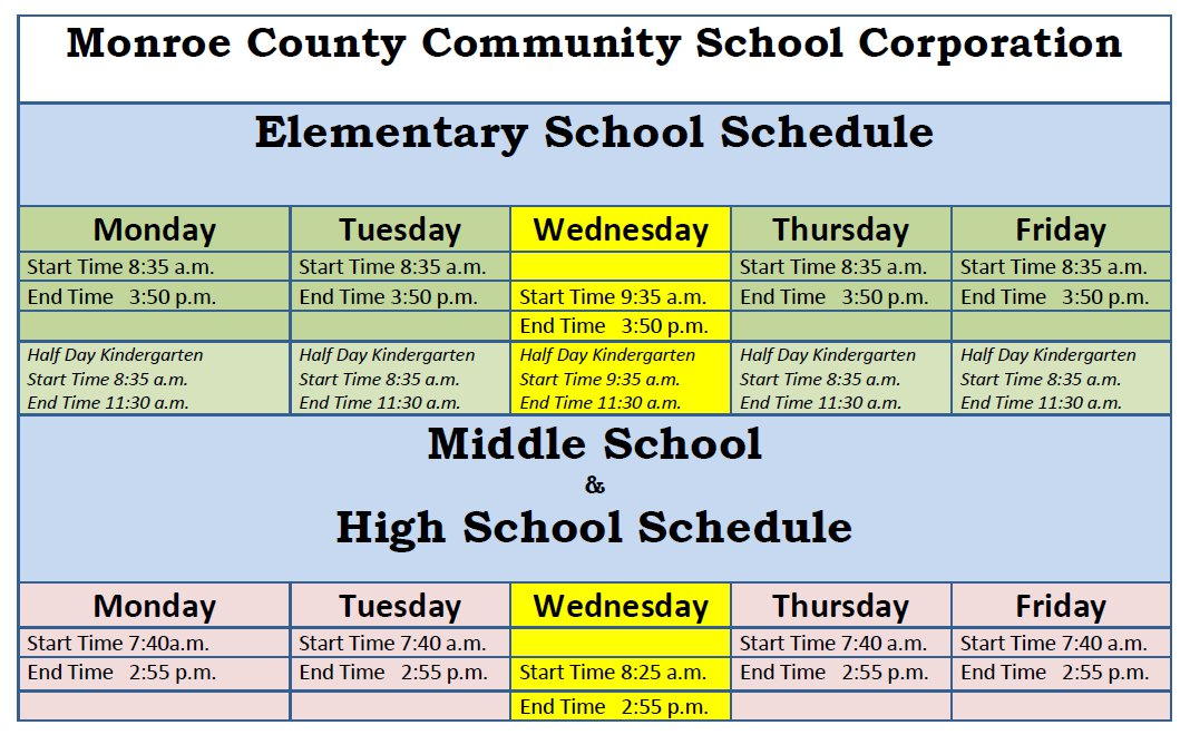 Monroe County Community School Corporation's school day information.
